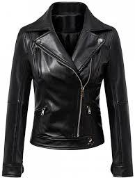 women s faux leather inclined zipper biker jacket black m