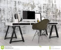 stylish office. black chair computer contemporary desk desktop files grey interior modern office stylish