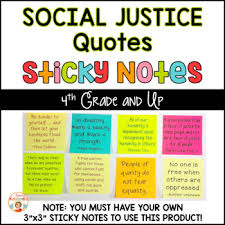 Justice Quotes Fascinating Social Justice Quotes On Sticky Notes By Kirsten's Kaboodle TpT