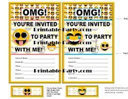 Print Out Birthday Invitations Emoji Printable Birthday Supplies Emoticon Smiley Happy Face 89