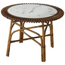 low round bamboo side table with glass top for