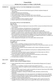 Manager Contact Center Resume Samples Velvet Jobs