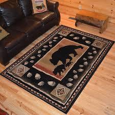 black bear paw print border cabin area rug 2x3 4x6 5x8 8x10