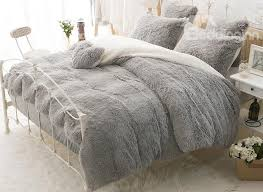 61 solid gray and white color blocking fluffy 4 piece bedding sets duvet cover