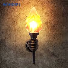 Fire Lighting Torch Retro Torch Hand Lamp Creatives Led Wall Light For Outdoor