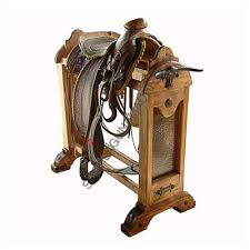 Saddle Display Stands Custom Saddle Stands CopperLeather and Cowhide Saddle Stand 98