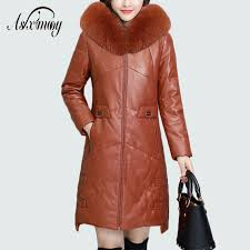2019 black leather jacket women 2018 winter hooded warm down plus size faux fur coat long with fox fur collar leather coat elegant from yangfan515