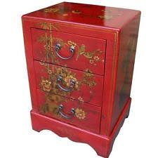 red bedside table. Perfect Red Chinese Bedside Table  Hand Painted Red 3 Drawers New BCS3R Throughout