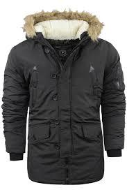 mens brave soul parka parker padded lined winter jacket faux fur hooded coat