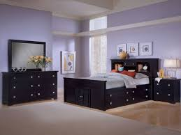 Purple Painted Bedroom Purple Painted Wall Black Bed Frame Black Headboard With Drawers