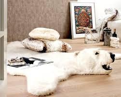 faux polar bear rug animal rugs with head ideas interior