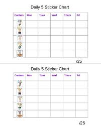 Weekly Sticker Chart For Behavior Centers Daily Five Behavior Sticker Chart