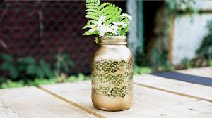 diy lace mason jar vase
