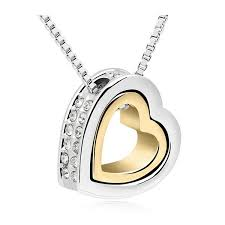 silver gold heart necklace jpg