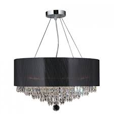 lighting fashionable black drum chandelier for home within design 8
