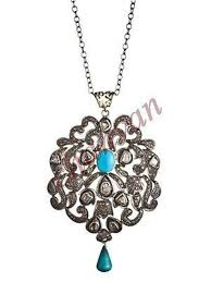 vintage insp rose cut diamond sterling silver turquoise pendant