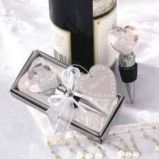 personalized wine bottle stopper wedding favors crystal heart favor they