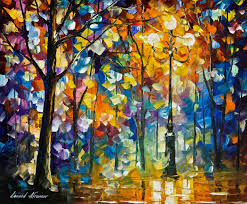1 hour lesson of leonid afremov painting a night landscape in form the light of magic