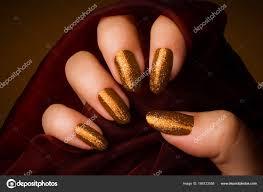 Lesklé Zlaté Nehty Manikúra Stock Fotografie Gyurma 166123558