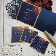 Corner Rose Flowers Gold Wedding Invitations 921 Pt161