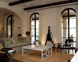 modern chic living room with arch windows