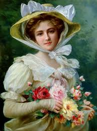 29 bouquet woman old oil painting