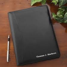 personalized leather portfolio black 8620