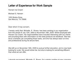 Work Experience Letter Sample From Employer Comp As Sample