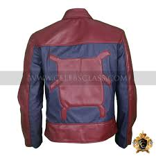 spiderman inspired red leather jacket costume
