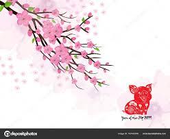 Chinese New Year Card Chinese New Year Card Plum Blossom Lantern 2019 Stock Vector