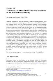 evaluating the detection of aberrant responses in automated essay inside