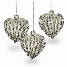 Sikora Bs235 Christbaumschmuck Aus Glas Spinnglas Herz Mit Silber Glitter 3er Set H 7cm Caspar Taschen