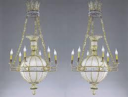 exceptional pair of à la montgolfière chandeliers