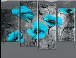 turquoise wall art extra large turquoise blue poppies on black painting with mottled background blue canvas wall art print turquoise wall art uk