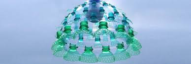 artist upcycles plastic bottles into enchanting chandeliers