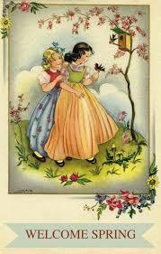 Spring Photo Cards Welcome Spring Vintage Postcards Vintage Children