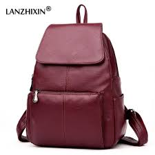 lanzhixin women leather backpacfor women vintage school bag for college girls travel bag backpacfor student back pack 6021 backpack purse dog backpack from