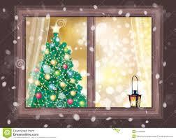 Pine Tree In Window Lighted PictureChristmas Tree In Window