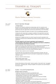 Branch Operation Manager Resume samples