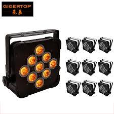 10xlot flat slim 140w 5in1 led rgbwa 5in1 par can puck dmx 5 9ch control