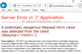 Solution] Asp.net Mvc A Potentially Dangerous Request.form Value Was ...