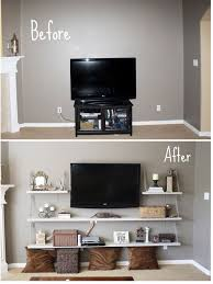 before plain living room with tv after amazing transformation