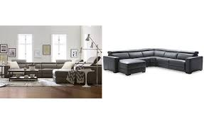 nevio 5 pc leather sectional sofa with chaise with 2 power recliners and articulating headrests created for macy s furniture macy s