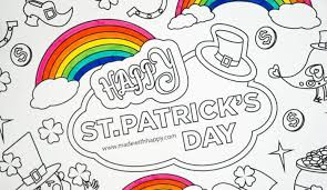 Shamrocks & harp musical intruments. Free Printable St Patricks Coloring Pages Made With Happy