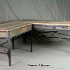 reclaimed wood office furniture. Vintage Industrial L Shaped Desk. Steel And Reclaimed Wood Office Furniture. Desk With Return. Furniture
