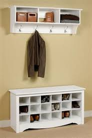 Entryway Shoe Storage Bench Coat Rack Mesmerizing Entryway Wall Mount Coat Rack W Shoe Storage Bench In White