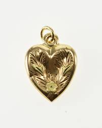 image 1 of 4 free 14k victorian puffy heart forget me not flower yellow gold charm pendant