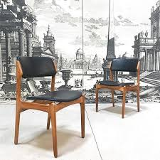 erik buch oak and leather chairs m49 for o d mobler as denmark 1950s