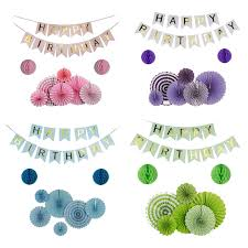 Purple Happy Birthday Banner 9pcs Set Green Pink Blue Purple Set Hanging Paper Fan For Party