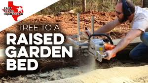 building a raised garden bed with wood sides from a pine tree diy raised beds gardening part 1